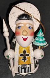 WOW! HAND CRAFTED NEW ORLEANS SAINTS WOODEN SANTA CLAUS TREE ORNAMENT