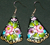 WOW! PINK & PURPLE FLORAL HAND PAINTED RUSSIAN PAPIER MACHE EARRINGS #7789