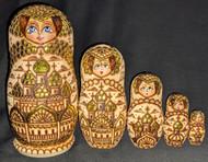 RUSSIAN 5PC MATRYOSKA NESTING SET CHURCHES w/TRADITIONAL GOLDEN ONION DOMES 1006