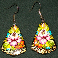 HAND PAINTED ROSE FLORAL PAPIER MACHE EARRINGS #7774
