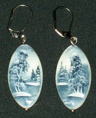 MOTHER OF PEARL HAND PAINTED RUSSIAN EARRINGS #2986 BLUE & WHITE