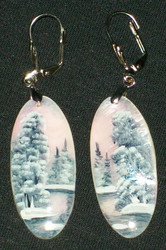 MOTHER OF PEARL HAND PAINTED PINK & GREY FLORAL EARRINGS #2992