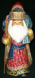 INCREDIBLE HANDPAINTED RUSSIAN LINDEN WOOD SANTA CLAUS w/PACK OF TOYS #0620