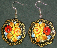 WOW! ELEGANT YELLOW & RED FLORAL PAPIER MACHE EARRINGS #7785