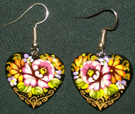HEART SHAPED PINK/RASPBERRY & YELLOW FLORAL ROSE PAPER MACHE EARRINGS #7779