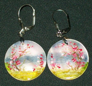 MOTHER OF PEARL HAND PAINTED ROUND RUSSIAN EARRINGS #2975 CHERRY BLOSSOMS