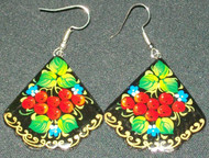 WOW! HAND PAINTED RUSSIAN PAPIER MACHE EARRINGS - WINTER BERRIES #7787