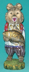 RUSSIAN HANDPAINTED & HANDCARVED BEAR HOLDING FISH