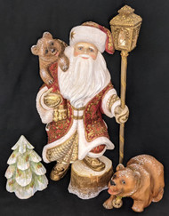 WOW! WONDERFUL HAND CARVED & PAINTED SANTA CLAUS w/BEARS, TREE, & LANTERN #6655