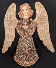WOW! MARVELOUS HAND CARVED & STAINED RUSSIAN ANGEL STATUETTE w/ CANDLE #2542