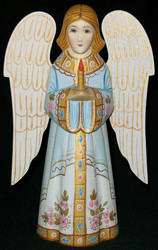 HANDPAINTED BLUE & WHITE RUSSIAN LINDEN WOOD ANGEL HOLDING A CANDLE #0271