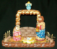 WOW! HAND CARVED & HAND PAINTED RUSSIAN NATIVITY SET #0441