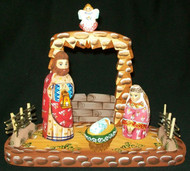 WOW! HAND CARVED & HAND PAINTED RUSSIAN NATIVITY SET #0457
