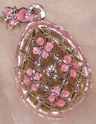 EXQUISITE Russian Faberge Egg Charm PINK & SILVER BIRDCAGE #1560