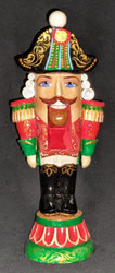 HAND CARVED & PAINTED RUSSIAN NUTCRACKER SOLDIER STATUE - BRIGHTLY COLORED #2734