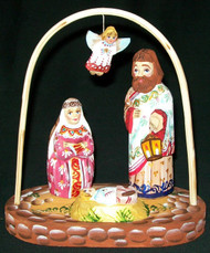 LOVELY HAND CARVED & HAND PAINTED RUSSIAN NATIVITY SET – BABY JESUS & LAMB #0584