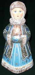 BEAUTIFUL BLUE & SILVER HAND CARVED & PAINTED SNOWMAIDEN #4815
