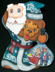 HAND CARVED & HAND PAINTED RUSSIAN BEAR PRETENDING TO BE SANTA #7741