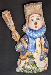 A FUN, WHIMSICAL HAND CARVED & HAND PAINTED WINTER BLUE RUSSIAN SNOWMAN #2821