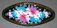 BLUE & PURPLE FLORAL HAND CRAFTED RUSSIAN PAPIER MACHE BARRETTE #3179