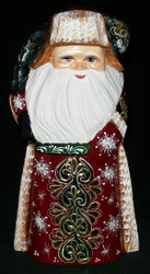 Golden Uzor Russian Linden Wood Santa w/ Traditional Shapka Cap #3677