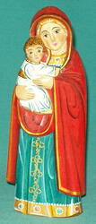 MADONNA & CHILD - RUSSIAN HAND CARVED & HAND PAINTED ICON STATUETTE