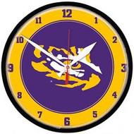 LSU Purple/Gold Tiger Eye Wall Clock