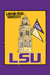 LSU Clock Tower Garden Flag