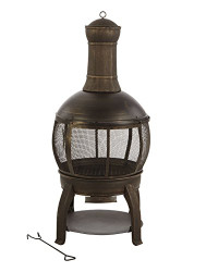 Living Accents Chimenea Fire Pit 47 in. H x 22 in. W Cast Iron/Steel