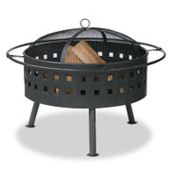 Aged Bronze Outdoor Firebowl with Lattrice Design