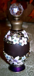 Bejeweled Purple Glass Enamel Flowers & Crystal Perfume Bottle