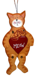 "Orange Tabby Cat and Red Heart ""Meow"" 10.5"" Wooden Hanger Sign"