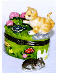 Orange Tabby Cat & Turtle with Flowers Porcelain Hinged Trinket Box