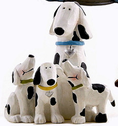 Sweet Dalmatian Mama Dog & Three Playful Puppies Resin Figurine
