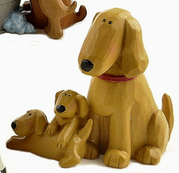 Sweet Golden Retriever Mama Dog & Two Playful Puppies Resin Figurine
