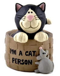 "Black & White Tuxedo Cat in Basket with Mouse ""I'm a Cat Person"" Resin Figurine"