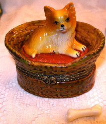 Pomeranian Puppy Dog in Basket 2pc Porcelain Hinged Trinket Box