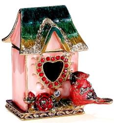Bejeweled Pink Enamel Cardinal Birdhouse Trinket Box Austrian Crystals