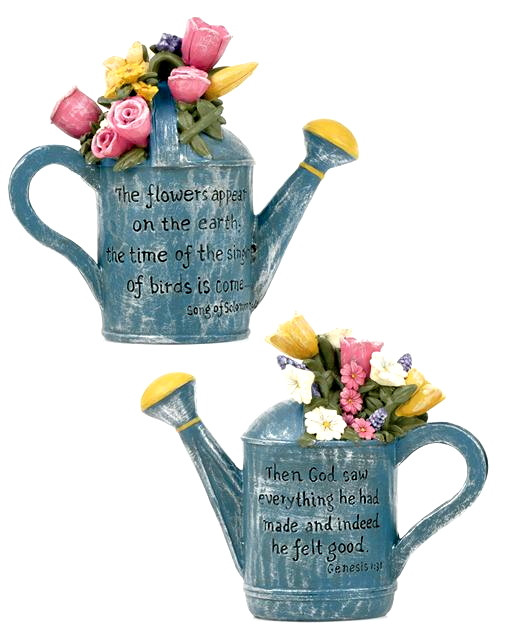 Blue Watering Cans With Flowers Inspirational Quote Resin Figurine