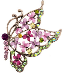 Lovely Purple & Lavender Butterfly Floral Enamel & Austrian Crystal Brooch Pin