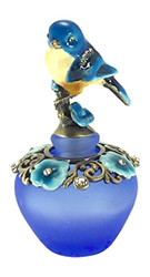 Lovely Enamel Blue Bird & Flowers Blue Frosted Crystal Pewter Perfume Bottle
