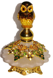 Welforth Jeweled Brown Owl Bird & Amber Flower Ornate Enamel Crystal Perfume Bottle