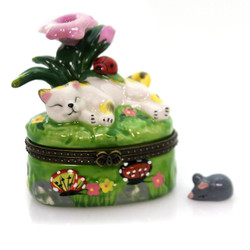 Sweet Calico Kitty Cat Sleeping Under Purple Flowers Hinged Trinket Box