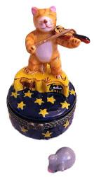 Orange Tabby Cat Playing Fiddle on Stars 2pc Porcelain Hinged Trinket Box