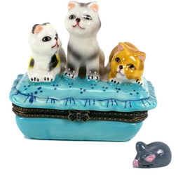 Three Kittens Cats on Blue Pillow 2pc Porcelain Hinged Trinket Box