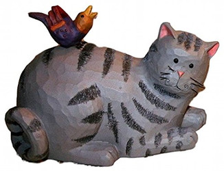 "Blossom Bucket Happy Grey Tabby Cat & Colorful Bird 6"" Resin Figurine"