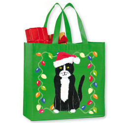 Meowy Christmas Tuxedo Santa Cat in Lights Large Tote Bag