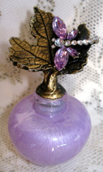 Lovely Crystal Lavender Dragonfly on Maple Leaf Lavender Glass Pewter Perfume Bottle