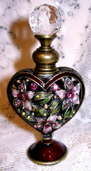 Jeweled Pink Flowers Heart Shaped Enamel and Pewter Perfume Bottle
