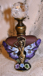 Fairy and Flowers Amethyst Glass Enamel Jeweled Heart Perfume Bottle